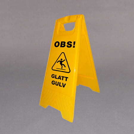 Advarselskilt plast OBS. Glatt gulv