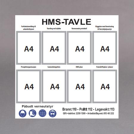 Hvit Alum.m/8stk A4 rammer
