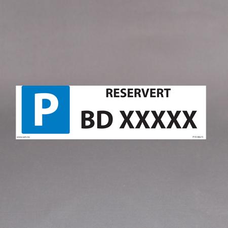 Blå/hvit med ditt bilnummer